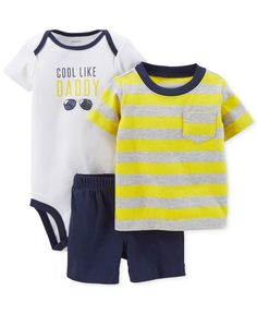 7df5a6e9be9 Carter s Baby Boys  3-Piece Cool Like Daddy Set Kids - Macy s