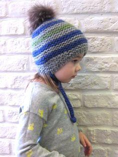 Peruvian ear flap hat for boy or girl / Boys beanie / Girls beanie / Bobble hat / Recycled raccoon fur pom hat / Kids striped beanie