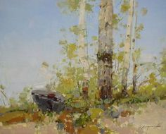 """Saatchi Art Artist Vahe Yeremyan; Painting, """"Birches Trees, Landscape oil Painting, one of a kind"""" #art"""
