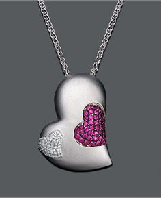 EFFY Heart Ruby (1-1/3 ct. t.w.) and Diamond (1/4 ct. t.w.) Pendant in Sterling Silver