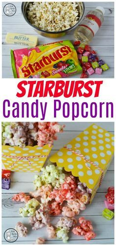Looking for the perfect Rainbow Snack? Try this Starburst Candy Popcorn. Combine all of the sweet goodness of Starbursts drizzled over crunchy popcorn. Popcorn Mix, Popcorn Snacks, Candy Popcorn, Flavored Popcorn, Gourmet Popcorn, Popcorn Recipes, Snack Recipes, Cooking Recipes, Popcorn Balls