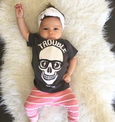 Trouble! Cute baby girl outfit : hipster kid fashion