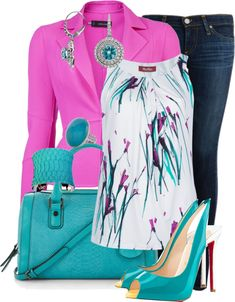 A fashion look from March 2013 featuring bcbgmaxazria dress, round top and pink blazer. Browse and shop related looks. Classy Outfits, Casual Outfits, Cute Outfits, Fashion Outfits, Womens Fashion, Green Outfits, Woman Outfits, Dress Fashion, Fashion Clothes