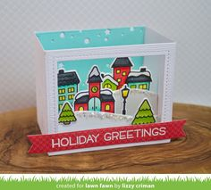 the Lawn Fawn blog: Lawn Fawn Video {9.12.17} A Winter Village Shadow Box Card with Lizzy!