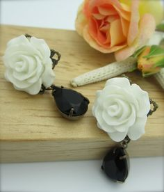 ON CLOUD NINE  White Rose Cabochon Embellished by NoisyButterfly, $24.50 ~~ SOLD