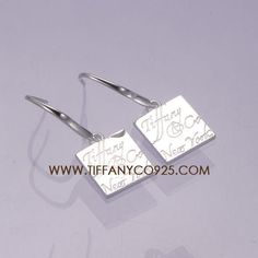 Tiffany Notes 'Tiffany Co.' Square Silver Earrings,Tiffany Earrings