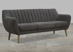 Grey Fabric Sofa With Quilted Back #SilverCoastCompany