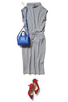 スプリングニットのタイトスカートで作る大人のON/OFF旬顔コーデ ― A