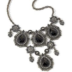 Mixit® Jet, Black Statement Necklace Black ($13) ❤ liked on Polyvore featuring jewelry, necklaces, accessories, black, jewels, lace necklace, statement necklaces, mixit jewelry, antique jewellery and jewel necklace