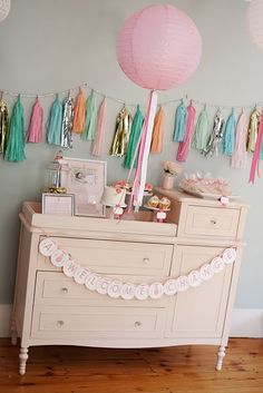 """""""A Welcome Change"""" so cute to set up desserts on a changing table"""