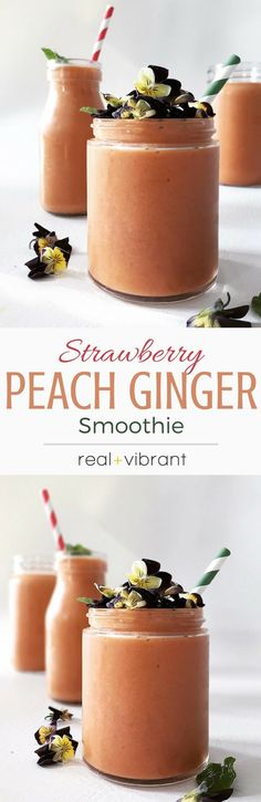 Hypoallergenic Pet Dog Food Items Diet Program Strawberry Peach Ginger Smoothie - A Delightful Smoothie That Will Convince The Biggest Skeptics Yummy Smoothie Recipes, Yummy Smoothies, Breakfast Smoothies, Yummy Drinks, Breakfast Recipes, Yummy Food, Healthy Recipes, Drink Recipes, Healthy Food