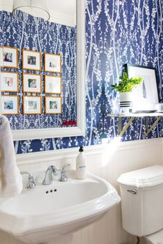 Powder Bathroom Reveal - temporary wallpaper and a gold gallery wall from A Thoughtful Place