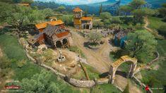ArtStation - The Witcher Blood and wine, Aleksey Ivanov Witcher Art, The Witcher 3, Fantasy Images, Fantasy Art, Buildings Artwork, Medieval Gothic, Fantasy Setting, Building Art, Fantasy Landscape