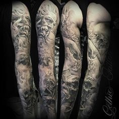 My heaven and hell sleeve done by justyna at dark rose for Battle between heaven and hell tattoo