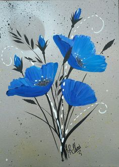 """In blue 2"" Peinture acrylique sur toile 25x35 By Raffin Christine Facebook : L'étoile de Chris"