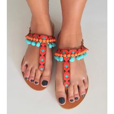 0 Boho Sandals, T Strap Sandals, Leather Sandals, Greek Sea, Pom Pom Sandals, Beautiful Shoes, Footwear, Turquoise, Painted Rocks