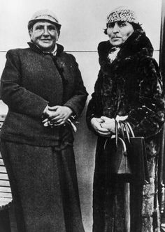 gertrude stein and alice b. toklas. lived together in paris as married couple for 39 yrs. stein a poet while alice typed her manuscripts and kept house.