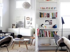 Independent shelves into a bookshelf. Ikea Ekby Gallo shelf brackets