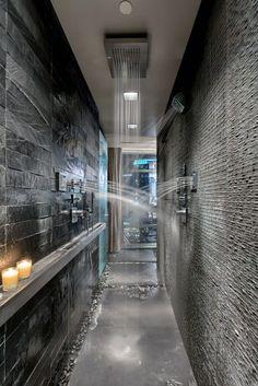 Master bath Top 50 Best Shower Floor Tile Ideas - Bathroom Flooring Designs Black Lace-A Flower That Small Shower Remodel, Waterfall Shower, Shower Floor Tile, Master Shower, Master Bathroom, Luxury Shower, Bathroom Design Luxury, Dream Bathrooms, Floor Design
