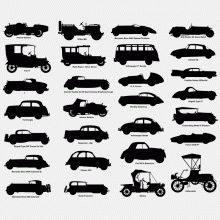Here is a collection of 28 vintage car silhouettes  which can be downloaded in vector and 2D CAD formats.