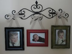 ***GREAT site on how to hang frames from ribbon OR knobs (glued to nails)***