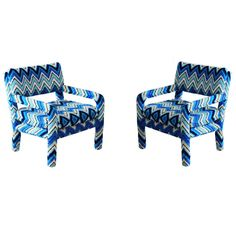 Pair of Vintage Parsons Chairs with Missoni Fabric