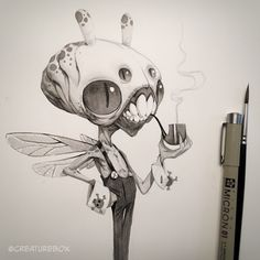 Day Uncle Sedgwick spent many many hours contemplating his future during his one day lifecycle. Character Concept, Character Art, Concept Art, Character Design, Cyberpunk, Monster Sketch, Tinta China, Creature Drawings, Creature Concept