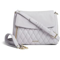 Vera Bradley Quilted Cara Convertible Bag in Cloud Gray ($238) ❤ liked on Polyvore featuring bags, handbags, shoulder bags, cloud gray, leather crossbody, leather cross body purse, quilted shoulder bag, leather crossbody purse and shoulder strap bag