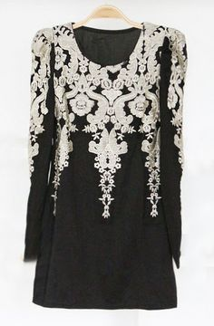 Black Long Sleeve Lace Embroidery Bodycon Dress