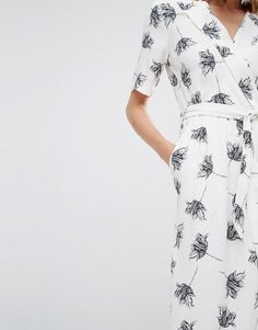 Image 3 of Warehouse Stencil Floral Wrap Midi Dress