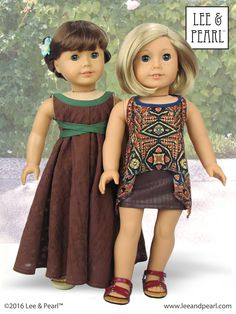 We love versatility! We made the pretty Empire waist gown and trendy high-low handkerchief hem top for our American Girl dolls using Lee & Pearl Pattern 1032: Desert Sunrise Top or Maxi Dress for 18 inch dolls, and the free tweak-the-pattern adaptation in our June 2016 newsletter. Get the tweak in our Newsletter Archive at http://www.leeandpearl.com/newsletters.html. And find Pattern 1032 in our Etsy shop at https://www.etsy.com/listing/397805083/lp-1032-desert-sunrise-maxi-dress-halter