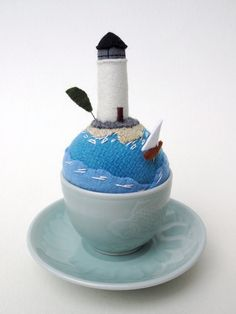 light house tea cup pincushion