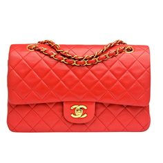 Chanel Vintage Red Quilted Lambskin Large Classic 2.55 Double Flap Bag | From a collection of rare vintage handbags and purses at http://www.1stdibs.com/fashion/accessories/handbags-purses/