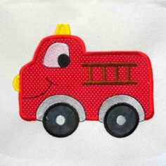 On the Move Fire Truck Embroidered and Applique Quilt Block