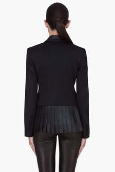 ALEXANDER WANG Black Pleated Leather Trim Blazer (great back detail)