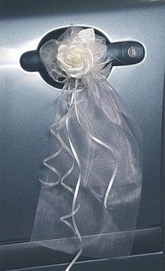 lot de 2 cocardes tulle fleurs et perles luxe voiture - Noeud Pour Voiture Mariage Tulle