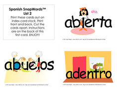 Bilingual SnapWords™ are perfect for native English speakers learning Spanish or for working with children in a bilingual classroom. Set 2 includes 66 high-frequency words. The front of each card portrays a stylized word, giving children a way to grasp the meaning of the word and remember its meaning. On the reverse of each card is the plain word without the image, a sentence using that word in Spanish and the English translation. When printed 2-sided and cut apart, each card is 5.5 X 4.25.