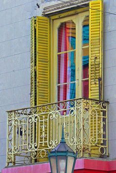 Yellow shutters, La Boca, Buenos Aires, Argentina.  Remember 2011.