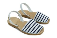 Ahoy! Avarca Sandals in Blue Stripes by Castell at The Avarca Store. Great for your Summer / Beach Outfit