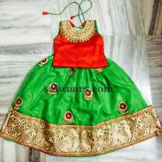 Kids Floral Lehenga High Neck Blouse - Indian Dresses