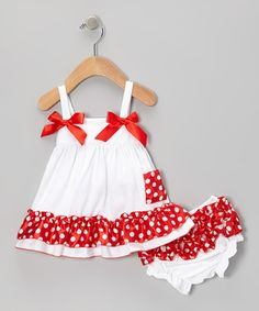 Take a look at this Royal Gem White & Red Polka Dot Swing Top & Diaper Cover - Infant today! Toddler Dress, Toddler Outfits, Baby Dress, Kids Outfits, Little Dresses, Little Girl Dresses, Girls Dresses, Baby Girl Fashion, Kids Fashion