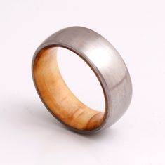 wooden ring / wedding band / titanium olive wood by aboutjewelry, $180.00