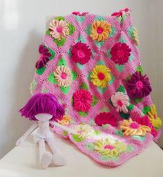 baby blanket pdf crochet pattern - Gerbera 3D Flower granny square - photo tutorial houseware floral blanket. $6.00, via Etsy.