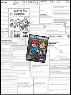 *FREEBIE* Hour of the Olympics: Comprehension Guide {This comprehension packet goes along with the book Hour of the Olympics by Mary Pope Osborne. It is perfect for guided reading groups or whole group instruction! I have included higher level thinking questions as well as questions that require students to infer. The packet includes vocabulary words, making connections, visual images, word work, and so much more!!!}