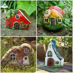 25 amazing ideas to help you grow your garden - Painted rocks, houses. 25 amazing ideas to help you transform your garden … - Rock Painting Patterns, Rock Painting Ideas Easy, Rock Painting Designs, Paint Designs, Garden Painting, Pebble Painting, Pebble Art, Stone Painting, Stone Crafts