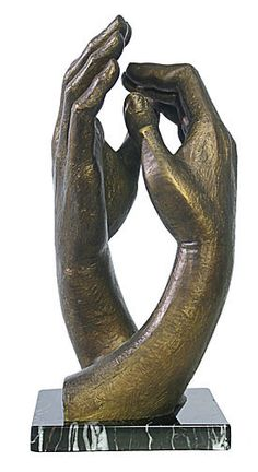 """Cathedral Clasping Hands by Rodin  Parastone Museum Collection  They form an upright Cathedral as a symbol of hope and faith.  Size: 10""""H x 5.75""""W x 5.25""""D"""