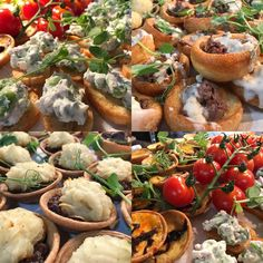 Today's wedding canapés: homemade mini cottage pies; broad bean and ricotta bruschetta; applewood cheese and caramelised onion mini quiches and mini Yorkshire pudding topped with rare beef and horseradish #qualityfood #weddingcanapes