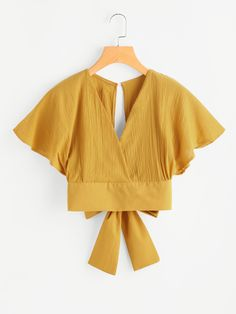 Shop Deep V-cut Keyhole Back Bow Tie Blouse online. ROMWE offers Deep V-cut Keyhole Back Bow Tie Blouse & more to fit your fashionable needs. Diy Clothes, Fashion Clothes, Fashion Outfits, Clothes For Women, Ootd Fashion, Fashion Styles, Mens Fashion, Fashion Tips, Bow Tie Blouse