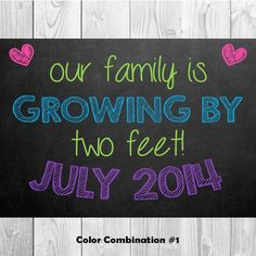 Pregnancy Announcement Chalkboard Our Family is by MMasonDesigns, $15.00