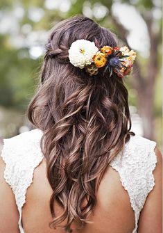 Bride's half up long waterfall braid bridal hair ideas Toni Kami Wedding Hairstyles ♥ ❶ flower crown Kari Crowe